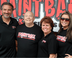 (Left to right), Ryan Krischke, Paintball Creator Bob Gurnsey, Debra Krischke and Alex Krischke, owners of Three Rivers Paintball, Pittsburgh, Pa.