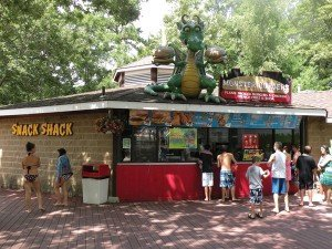 A fun theme welcomes Splish Splash guests to the Snack Shack. Feedback from park guests indicates that they find the food prices reasonable.