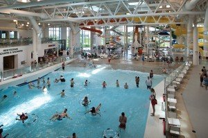 The wave pool at the Evergreen Wings & Waves Waterpark in McMinnville, Ore. The waterpark adds a family fun component to a visit to The Evergreen Air and Space Museum.