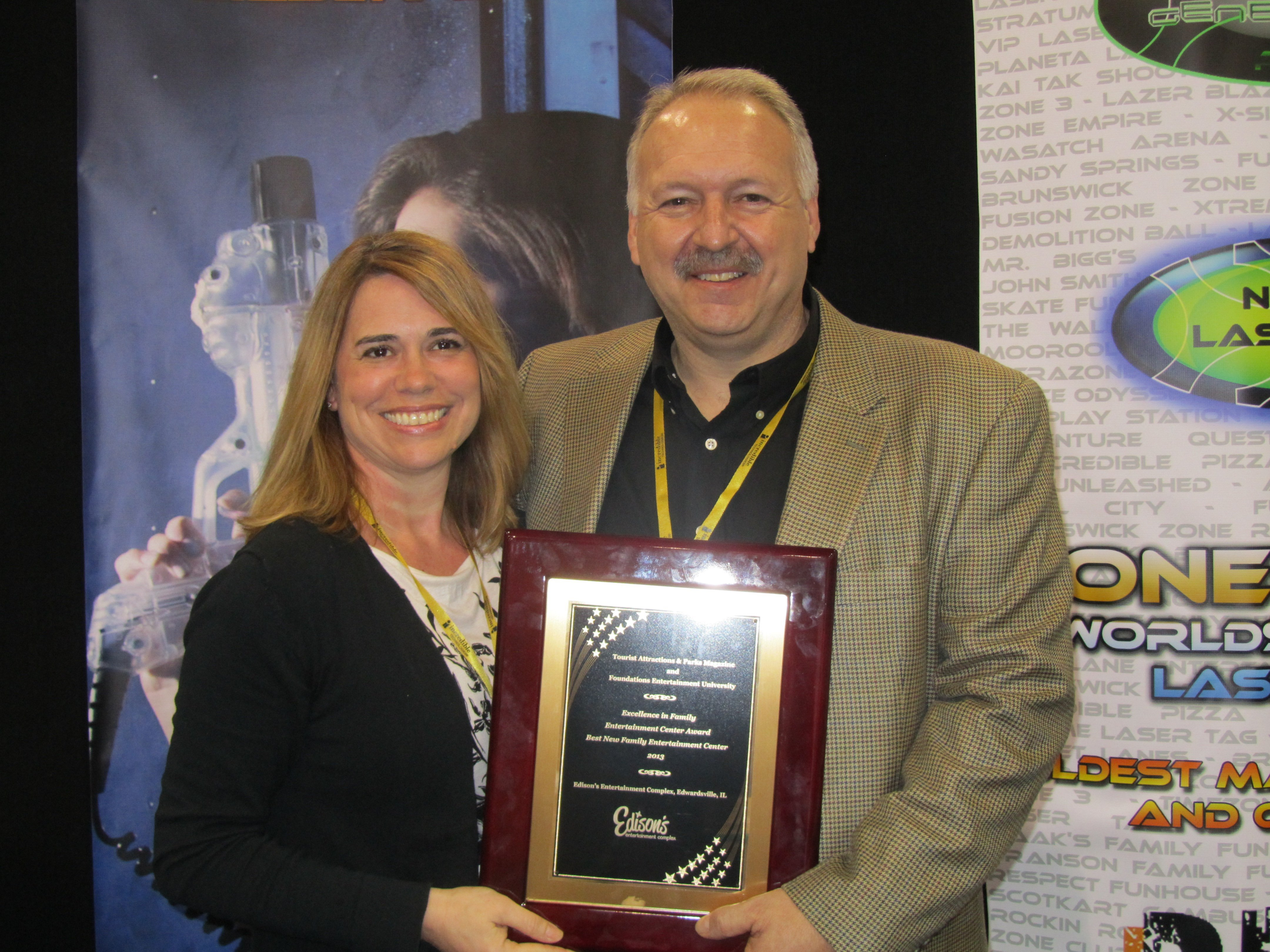 Mindy McSparin, CFO (Chief Family Officer) and wife of Matt McSparin and Matt McSparin, CEO (Chief Entertainment Officer) and managing partner of Edison's Entertainment Complex, received the 2013 Excellence in Family Entertainment Centers Award for Best New FEC.