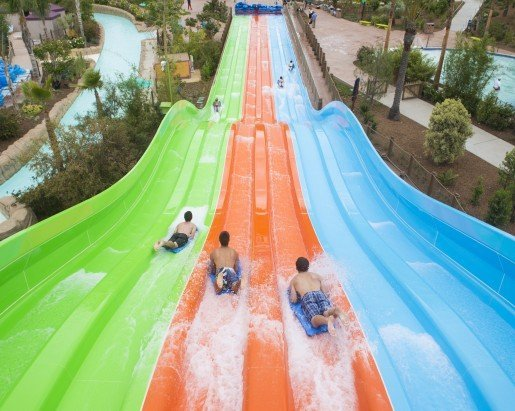 A view of the Taumata Racer® high-speed racing water slide at Aquatica San Diego. Photo by Mike Aguilera/SeaWorld® San Diego.