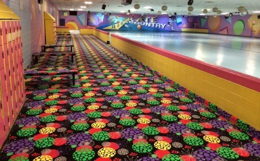 Paint and carpet color work together for a cheerful look at Skate Country East. Employees keep an eye out for gum chewers because gum is so hard to get out of the carpet.