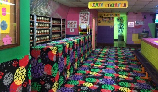 Bright and festive, carpet brightens this space at Skate Country East in Tucson, Ariz. Bringing in a professional cleaning service every few months enhances the efforts made by the staff using the center's own carpet cleaning machine.