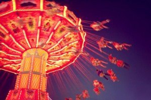 a fair ride shot with a long exposure at night toned with a ret