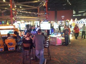 A view of the game floor at Pinstack in West Plano, Texas. Entertainment Properties Group, Inc., used the Sacoa PlayCard System to manage attractions and redemption at the location.