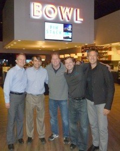 From left to right, Brian Duke of Sacoa, Brian Cohen, vice president of operations at Entertainment Properties Group, Mark Moore, president and CEO,Jason Prowell, COO, and Sebastion Mochkovsky of Sacoa.
