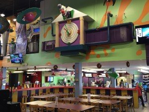 A seating area at Putt-Putt FunHouse. At facilities that offer mini-golf and go-karts, food can be a beneficial part of a guest's experience and of a center's revenue.