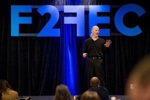 Ben Jones with the F2FEC logo addressing the crowd. Photo credit: Tim Sealy