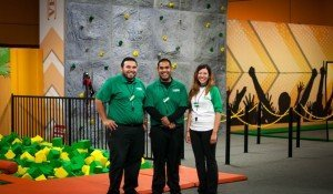 Rocky Ramponi, general manager, Eric Rubio, general manager and Laura Ayala, jump patrol, of ROCKIN' Jump, The Ultimate Trampoline Park. The company started franchising its parks almost two years ago.