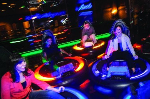 Guests enjoying the bumper cars at C.J. Barrymores in Clinton Township, Mich. Adding the attraction has helped grow the location's winter business.