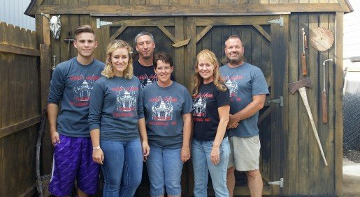 Grey House Haunts' Design and Build Staff Preston Rath, Shai Christensen, Loren Breinig, Jo Breinig, Jan Knuth and John Skaggs. Jan Knuth is the haunt owner. The Holdrege, Neb., attraction uses classic characters with a twist to scare a contemporary audience.