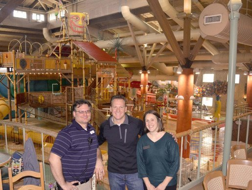 Donny Wensinger, general manager, Splash Lagoon, Nick Scott Jr., vice president Scott Enterprises and Ashlie Sharp, sales manager, Splash Lagoon. Scott Jr., said that lifeguards are not just watching water anymore, but also keeping an eye on the park's many play elements.