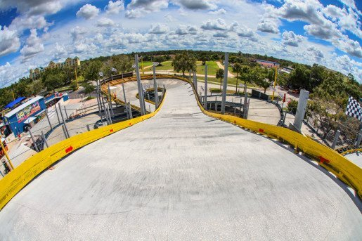 A view of the Vortex Track at the Kissimmee, Fla., location of Fun Spot America. The track is four stories high, or 40 feet, and features a steep banking curve at 32 degrees, which is more than the Daytona Speedway.