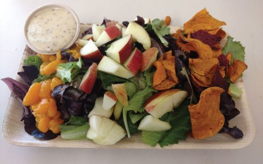A menu item that teaches at the John Ball Zoo is this salad consisting of spring mix greens, oranges, apples and sweet potato chips that mimics the tortoises' daily meal.