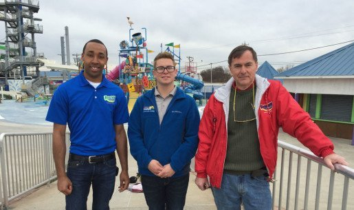 "From left to right, Malcolm Gibson, maintenance engineer, Joe Gonzalves, maintenance engineer and Bill Gehlhaus, owner, Runaway Rapids. Serious maintenance begins the day after we close to make re-opening the park as problem-free as possible,"" Gehlhaus said."