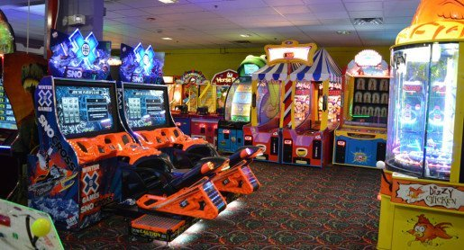A lower level game room at Wilsonville Family Fun Center. Candy is a popular redemption prize choice at the center.