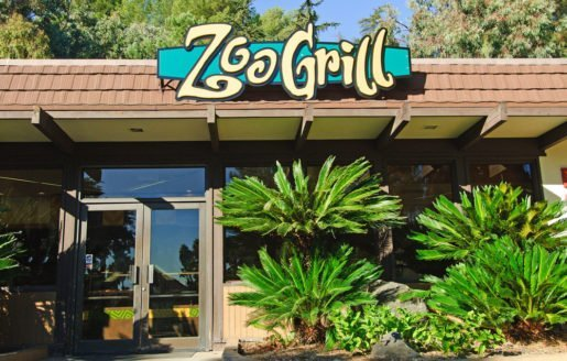 An exterior view of the Los Angeles Zoo's Zoo Grill. Menu items at the zoo's eateries range from salads to hot, carved sandwiches and churros. Photo credit: Jamie Pham.