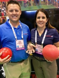 Rick and Michelle Moody of Dodgeball2You photographed with their IAAPA Brass Ring Award.