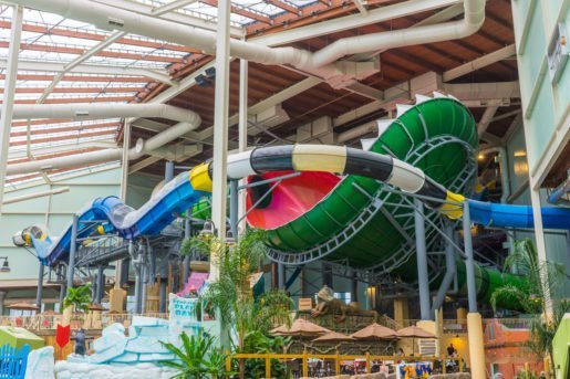 A view of the Aquatopia Indoor Waterpark. Indoor waterparks are a great bet for indoor off-season fun.