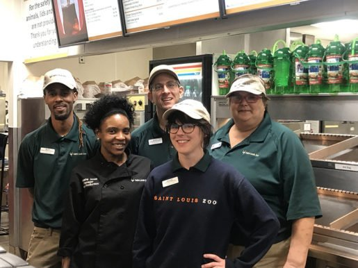 Saint Louis Zoo employees, from left: D'Juan Wiley, food service supervisor; Tanisha Jones, food production manager; Scott Trapasso, food service supervisor; Rachel Samsoucie, food service supervisor; and Sharon Woolford, prep cook. Fountain beverages and house-made snacks are profitable sellers for the attraction.