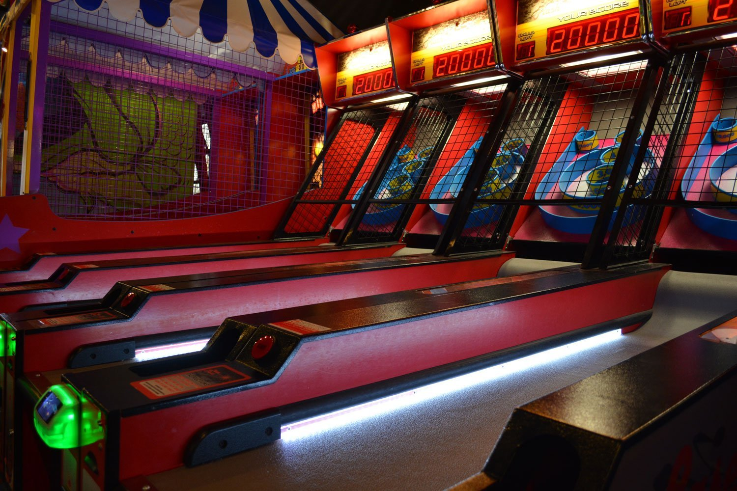 A Skee Ball setup at Laser Flash in Carmel, Ind. The arcade provides a quarter of the center's total revenue.