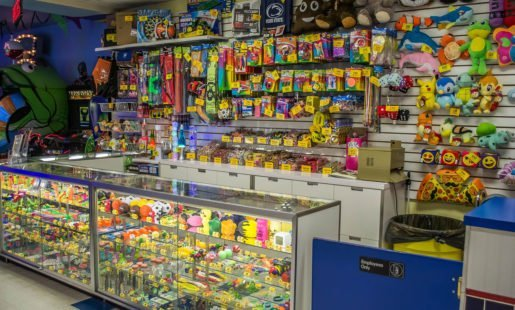 A redemption counter at Adventure Sports. The prizes range from the less expensive items for tourists to more expensive prizes for regulars who will spend more time to earn them.