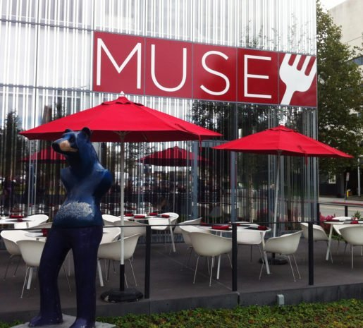 An exterior view of the Muse, with its patio, at the Anchorage Museum. This fashionable venue has become a location for socializing and after-work cocktails.