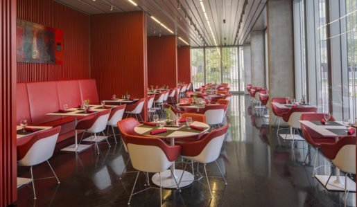A view of the Muse restaurant at the Anchorage Museum in Alaska. The space has beautiful views of the downtown area.