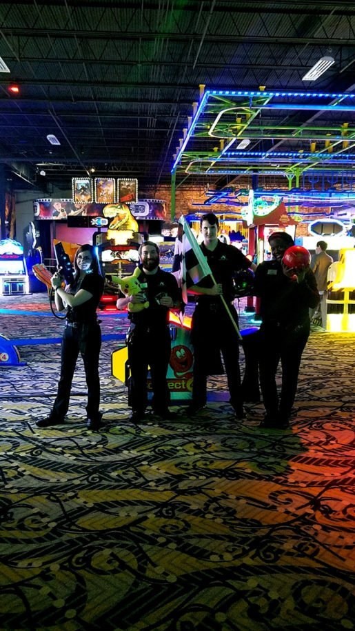 Andretti Indoor Karting and Games is profiled in the April/May edition of TAP. Shown are Andretti's: Christina Parker, arcade/attractions tech; Zachary Baab, arcade tech; Timothy Dobbs, arcade attendant; and Afrika Jackson, starting line/bowling attendant.