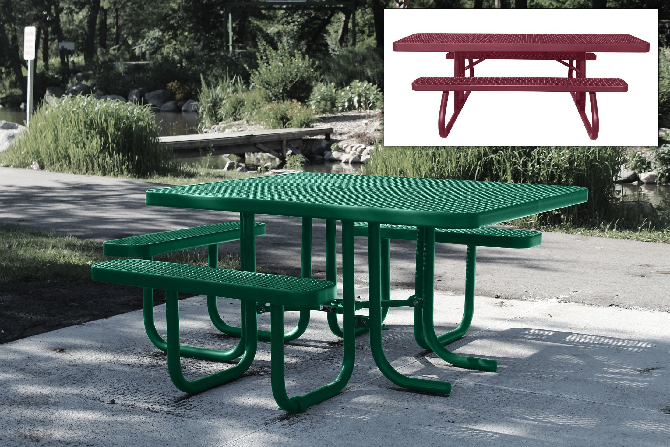 Premier Polysteel offers a 20-year warranty on the picnic tables pictured here.