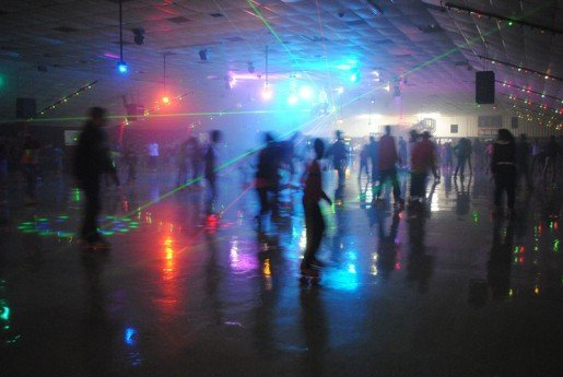 Skaters enjoy special lighting at the Playland Skate Center. Events, Wi-Fi, activities for the very young and more keep the community interested in the center.