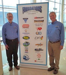 Randy White, (left), CEO of White Hutchinson Leisure & Learning and Frank Seninsky, CEO of Alpha-Omega Amusements and Amusement Entertainment Management (AEM)