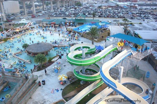 A view of the Hurricane Alley Waterpark in Corpus Christi, Texas. The park's theme reflects the aftermath of a gulf hurricane.  © Gaffney Photography
