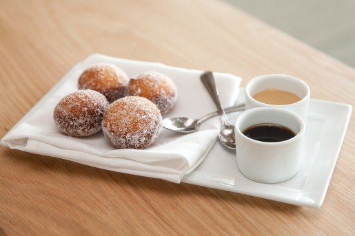 "Donuts served with Chocolate Cuban coffee and dulce de leche sauces/dips are top-selling at the Verde Restaurant, Perez Museum. ""Who doesn't like donuts?"" the executive chef said."