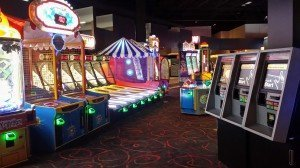 The game room floor at Pinstack in West Plano, Texas. The location features 150 games.