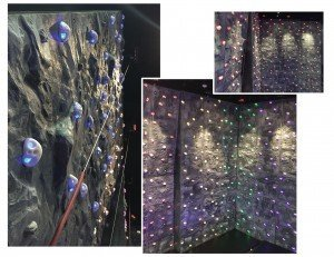 There are RGB LED handholds, an impressive climbing surface that is 48 feet wide by 24 feet high, six climbing routes and timers at the Spectrum Sports International Pinstack climbing wall installation.