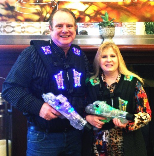 Randy Crim and Maria Giambrone, owners of Northern Lights Recreation Center in Harbor Springs, Mich. The facility is upgrading their bowling facility to include laser tag.