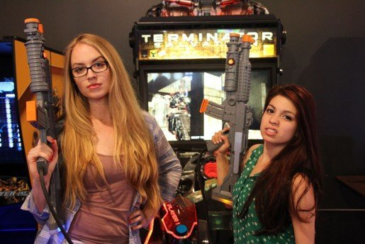 Andy B's guests Becky Gourley, left, with Christina Cruz. The center, which features bowling and laser tag, includes an arcade card with every birthday party package.