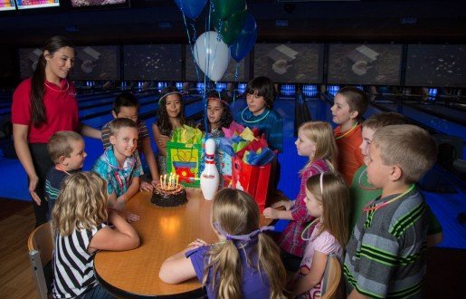 A child's birthday party at Sunset Lanes. The staff makes sure that each birthday party attendee leaves with birthday package information to take home.