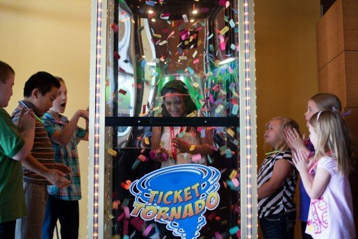 Children enjoy the Ticket Tornado diversion at Sunset Lanes. About 250,000 guests visit the center annually.