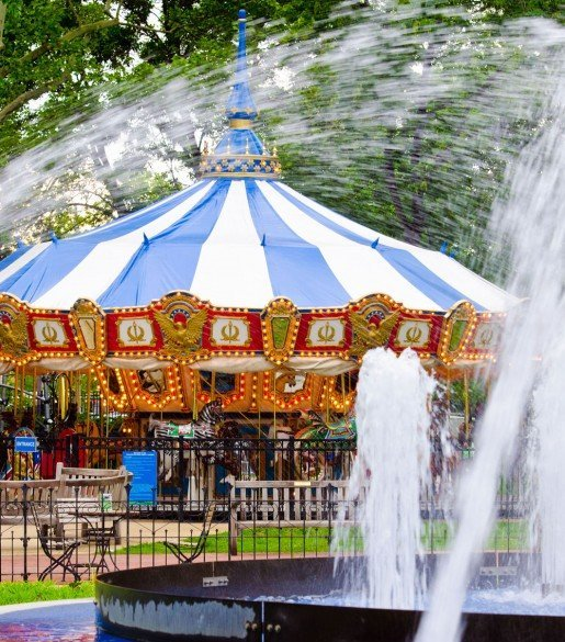 The Parx Liberty Carousel at Franklin Square in Philadelphia, Pa. The park has a supervisor and a visible police presence to keep visitors safe.  Photo by Jeff Fusco for Historic Philadelphia, Inc.