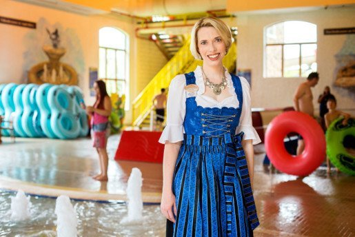 "Martha Zehnder Keller, vice president and fourth generation owner, Bavarian Inn Lodge, Frankenmuth, Mich. ""When you come into a lot of waterparks, it's a big humid vault,"" she said. ""Ours is more like a family room, with comfortable seating areas throughout."""