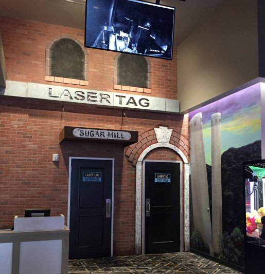 A laser tag entrance at High 5. Erik Guthrie, vice president of sales and marketing at Zone Laser Tag in Dover, Del., worked with ARC Laser Tag Arenas to create a customized, immersive play environment on two levels.