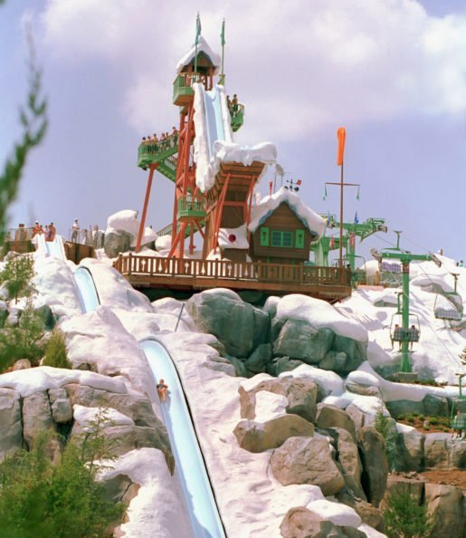 A view of Disney's Blizzard Beach and the iconic Mount Gushmore. Still popular for the attraction is the Teamboat Springs familiy raft ride.
