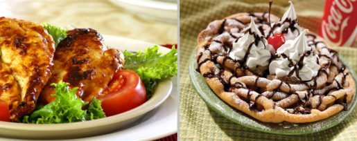 Funnel cake and barbecue chicken are on the menu at Six Flags New England. The park is always reinventing or creating new food items to enhance guests' culinary experiences.