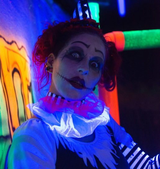 New this year at Haunted Acres was a nighttime zipline. Shown is an actor made up for the show.