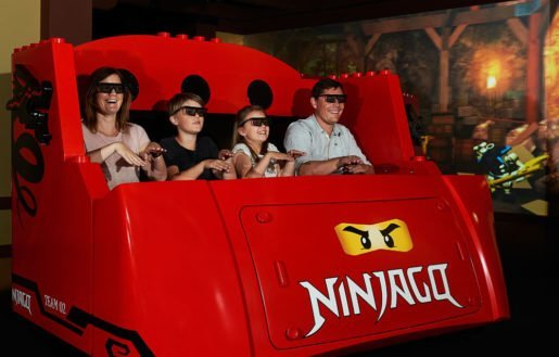 By simply moving their hands, riders can score points by throwing projectiles like lightning bolts while on Ninjago The Ride at Legoland.