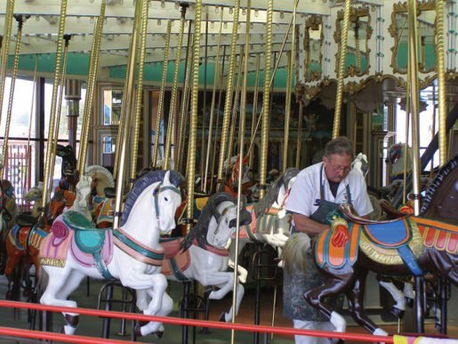 Jimmy Raun-Byberg touches up the Santa Cruz Beach Boardwalk's Looff Carousel every winter. Maintenance tips from the location appear in the April/May 2017 issue of TAP.